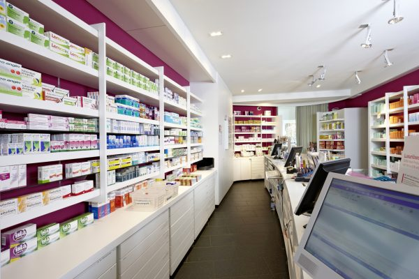 View on shelves and counter of a pharmacy